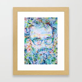 ALLEN GINSBERG - watercolor portrait Framed Art Print