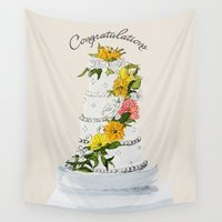 wedding Wall Tapestries featuring Wedding Cake by Susan Messier Designs