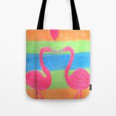 Pink Flamingo Mural Art Tote Bag