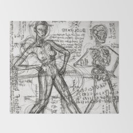 Clone Death - Intaglio / Printmaking Throw Blanket