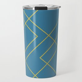 Dark Teal with Geometric Gold Lines Travel Mug