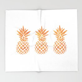 Orange Swirl Pineapples on White Throw Blanket