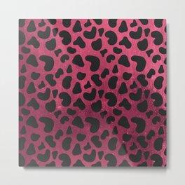 Modern black burgundy red gradient animal print Metal Print