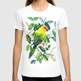 Sun Conure Parakeet, jungle tropical colors, parrot yellow deep green bright colored home decor T-shirt