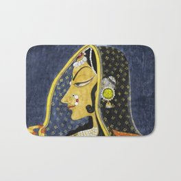 Bani Thani female portrait painting in traditional Rajasthani, the Mona Lisa of India by Nihal Chand Bath Mat