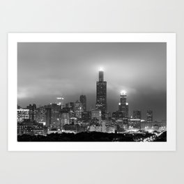 Chicago City Skyline Architecture with Cloudy Skies - Black and White Art Print