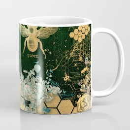 French chic, victorian,bee,floral,gold foil, belle epoque,art nouveau, green foil, elegant chic coll Coffee Mug