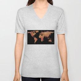 World Map Silhouette - Crispy Bacon Unisex V-Neck