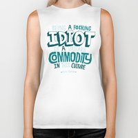 kardashian Biker Tanks featuring Idiot Commodity by Chris Piascik