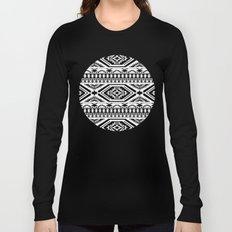Aztec Geometric Print - Black Long Sleeve T-shirt