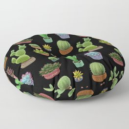 Potted cacti and succulents on black background Floor Pillow