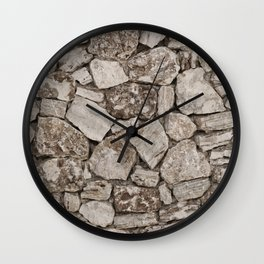 Old Rustic Stone Wall Wall Clock
