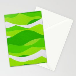 Waves - Lime Green Stationery Cards