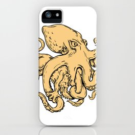 Giant Octopus Fighting Hydra Drawing iPhone Case