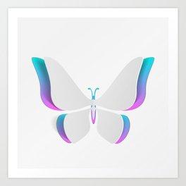 Pretty Aqua And Violet Butterfly Art Print