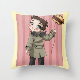 Castiel Loves Hamburgers Throw Pillow
