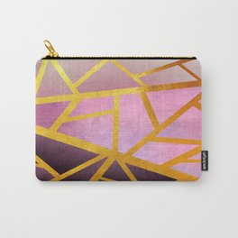 Textured Pink Geometric Gradient With Gold Carry-All Pouch