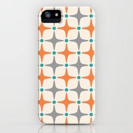 Mid Century Modern Star Pattern Grey and Orange iPhone Case