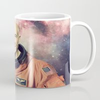 picard Mugs featuring Captain Picard - Astronaut in Space by Nicholas Redfunkovich