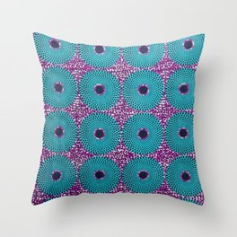 Turquoise Donuts African Ankara Delight Throw Pillow