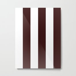 Wide Vertical Stripes - White and Dark Sienna Brown Metal Print