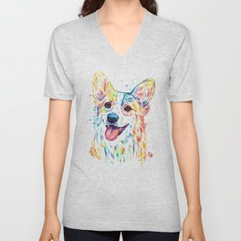 Corgi Colorful Watercolor Pet Portrait Painting Unisex V-Neck