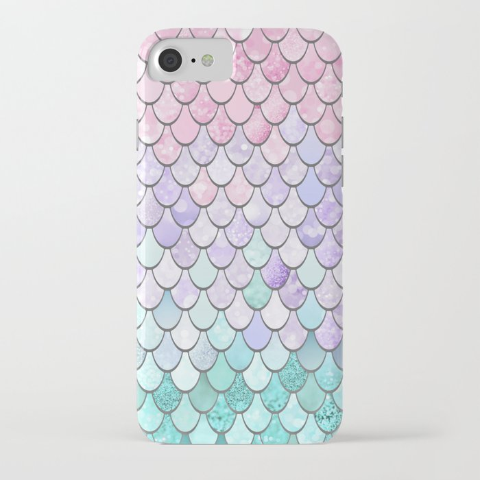 mermaid pastel pink purple aqua teal iphone case