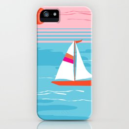 Mellow Out - memphis throwback retro classic neon yacht boating sailboat ocean sea 1980s 80s pop art iPhone Case