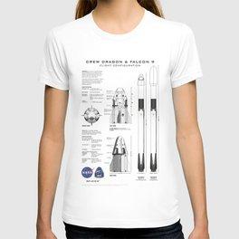 NASA SpaceX Crew Dragon Spacecraft & Falcon 9 Rocket Blueprint in High Resolution (white) T-shirt