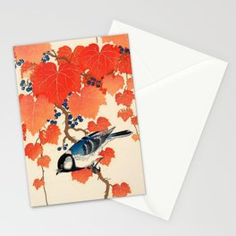 Vintage Japanese Bird and Autumn Grapevine Stationery Cards
