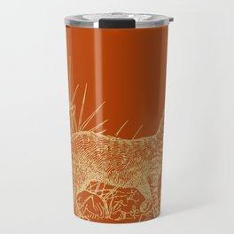 Gold cat on burnt orange Travel Mug