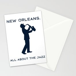 New Orleans Music Festival Jazz Saxophone Musician Design Stationery Cards