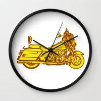 motorbike Wall Clocks featuring Motorcycle Motorbike Woodcut by patrimonio
