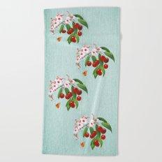 Cherries on Vintage  Beach Towel