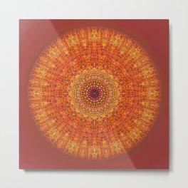 Red Burst Mandala 0118 Metal Print