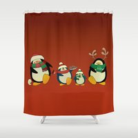 cartoons Shower Curtains featuring Penguin family  by mangulica illustrations