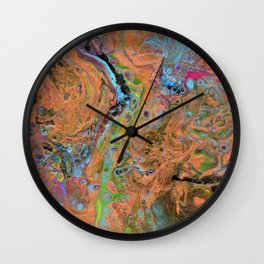 Fluid Copper - Abstract, original, fluid, acrylic painting Wall Clock