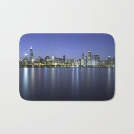 Chicago Skyline Dusk Panorama Bath Mat