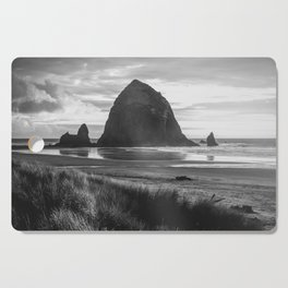 Cannon Beach Sunset - Black and White Nature Photography Cutting Board