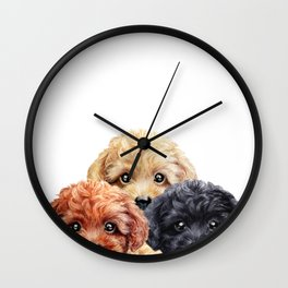 Toy poodle trio, Dog illustration original painting print Wall Clock