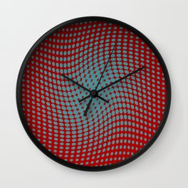 Polka dots with a twist (red) Wall Clock