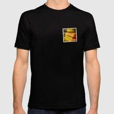 Grunge sticker of Andorra flag Mens Fitted Tee Black MEDIUM