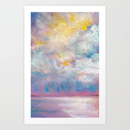 Clouds over water - pastel grunge background Art Print