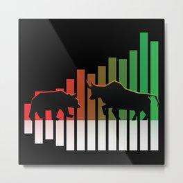 Bear VS Bull Stock Exchange Money Profit Shareholder Share Gift Metal Print