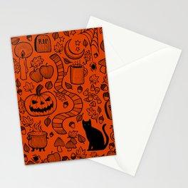 October Pattern- Black & Orange Stationery Cards