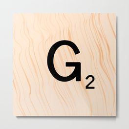 Scrabble Letter G - Scrabble Art and Apparel Metal Print