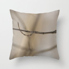 Branch on a blurred brown background Throw Pillow