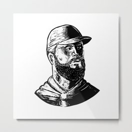 Bearded Chef Scratchboard Metal Print