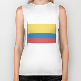 Flag of Colombia. The slit in the paper with shadows. Biker Tank