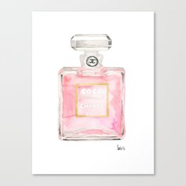 perfume bottle art watercolor print home, fashion, office, wall, dorm decor Canvas Print